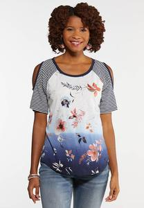 Plus Size Floral Baseball Top