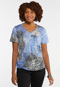 Plus Size Ruched Burnout Top