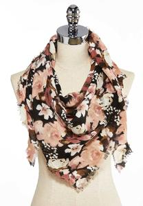 Large Blooms Triangle Scarf
