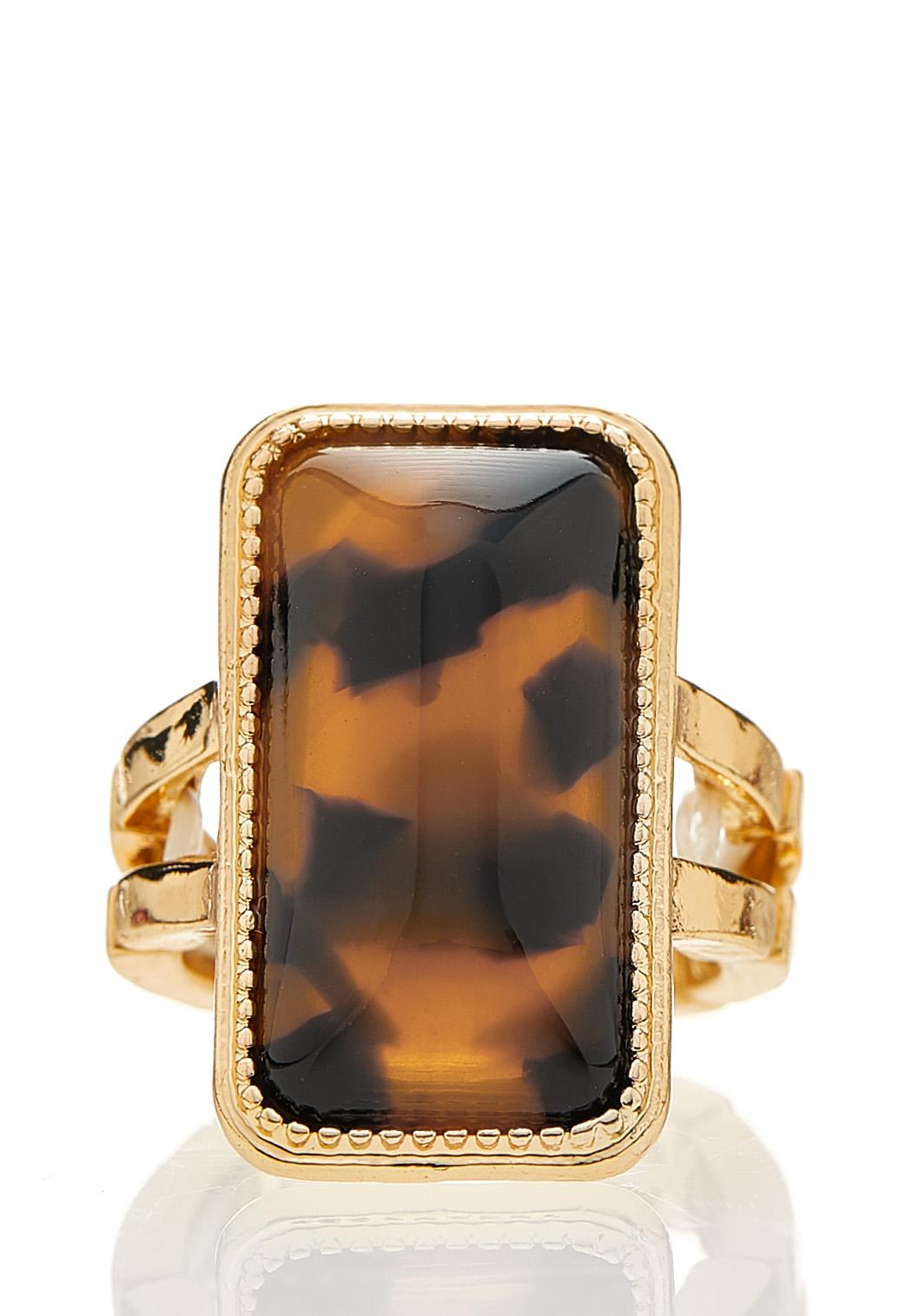 Tortoise Rectangle Stretch Ring