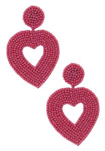 Seed Bead Heart Earrings