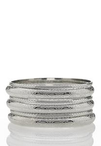 XL Silver Bangle Bracelet Set