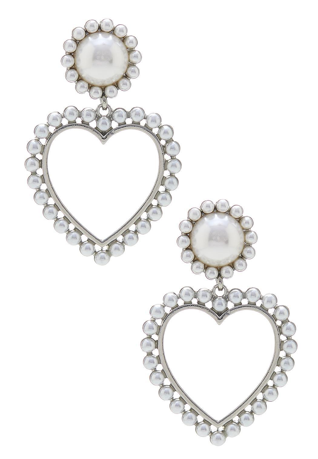 Dangling Pearl Heart Earrings