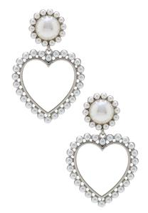Dangling Pearl Heart Earrings