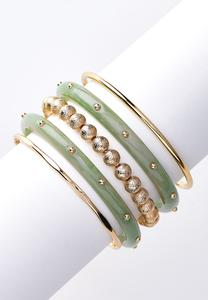 Mint Resin And Gold Bangle Set