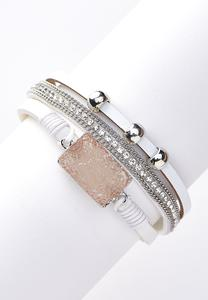Ivory Faux Leather Bracelet