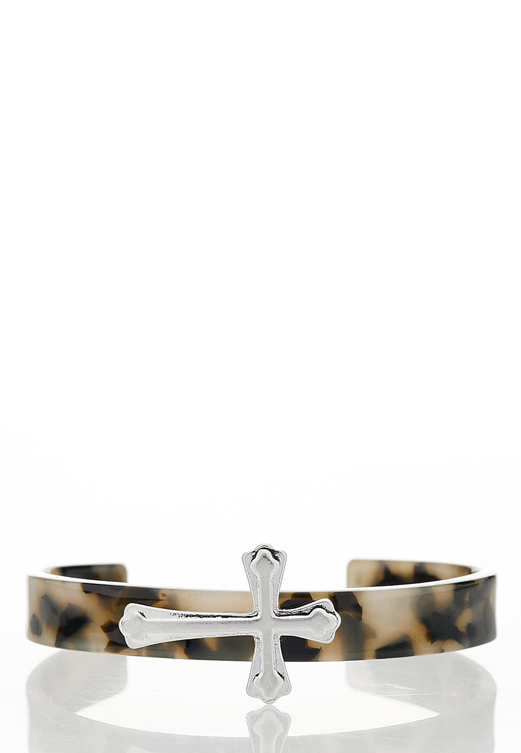 Lucite Cross Cuff Bracelet