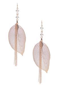 Delicate Chain Leaf Earrings