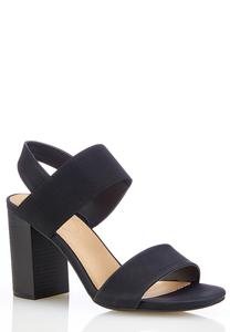 Wide Width Stretch Band Block Heel Sandals