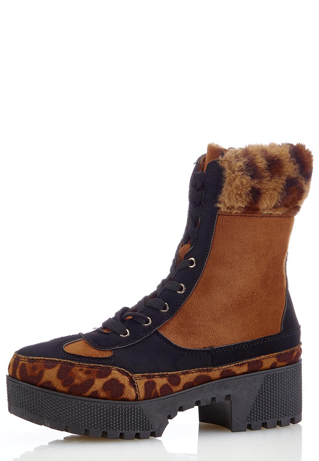 Leopard Fur Cuff Lug Boots