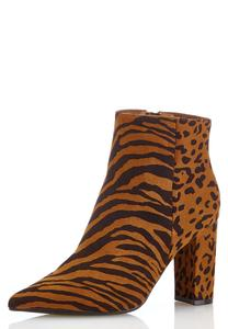 Mixed Animal Print Booties
