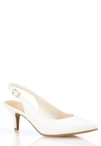 Wide Width White Slingback Pumps