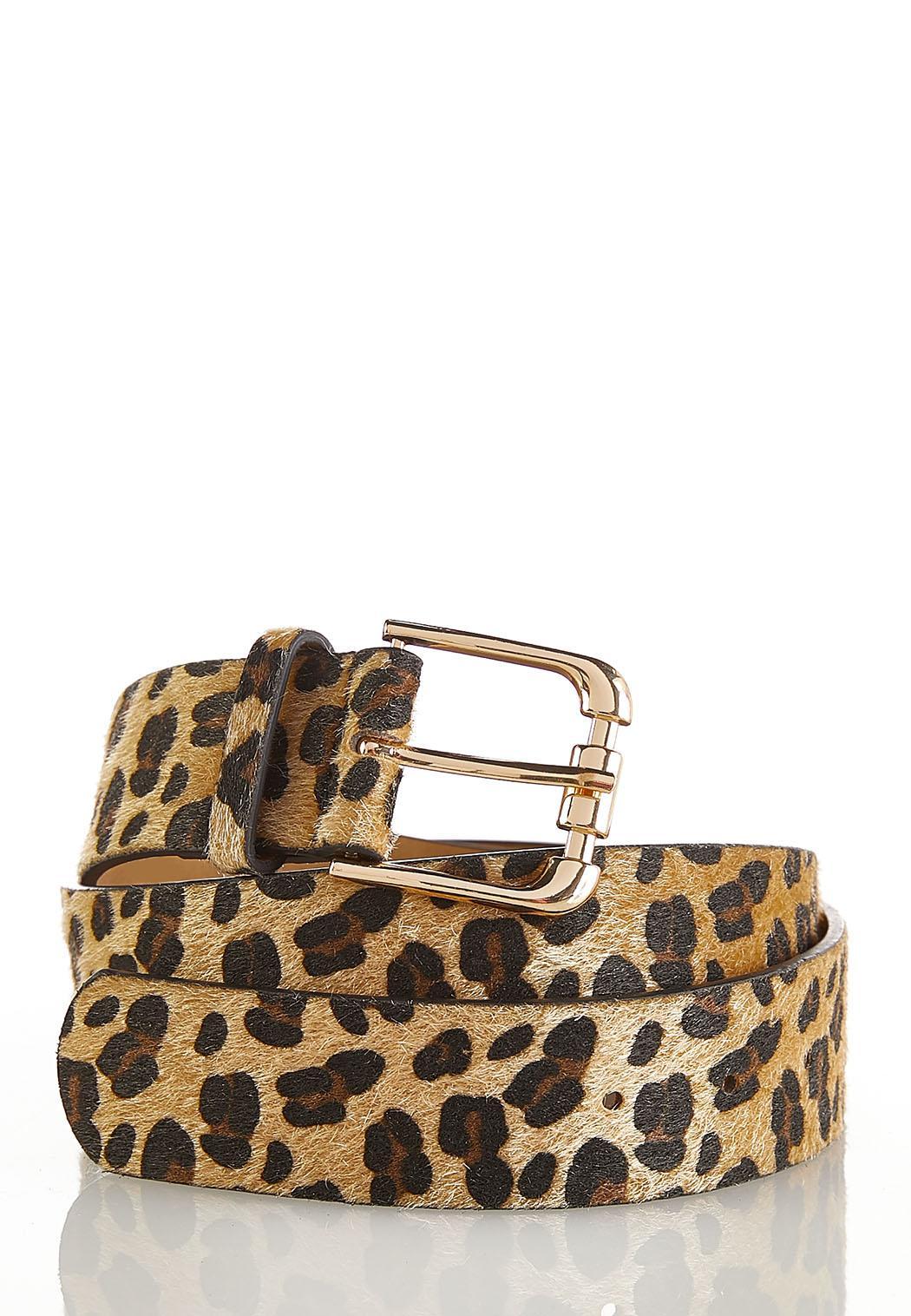Plus Size Leopard Faux Fur Belt