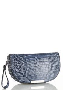 Blue Gray Croc Wristlet