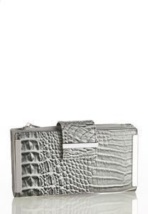 Metal Bar Croc Wallet