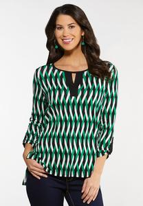 Plus Size Green Twist Print Top