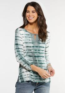 Plus Size Green Tie Dye Top