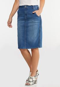 Plus Size Braided Trim Denim Skirt