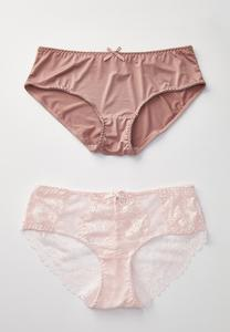 Plus Size Rose Pink Lacey Panty Set
