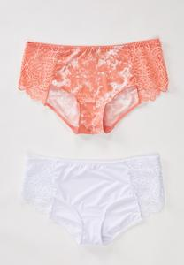 Plus Size Coral And White Lace Panty Set
