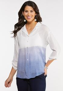 Plus Size Dip Dye Button Down Top