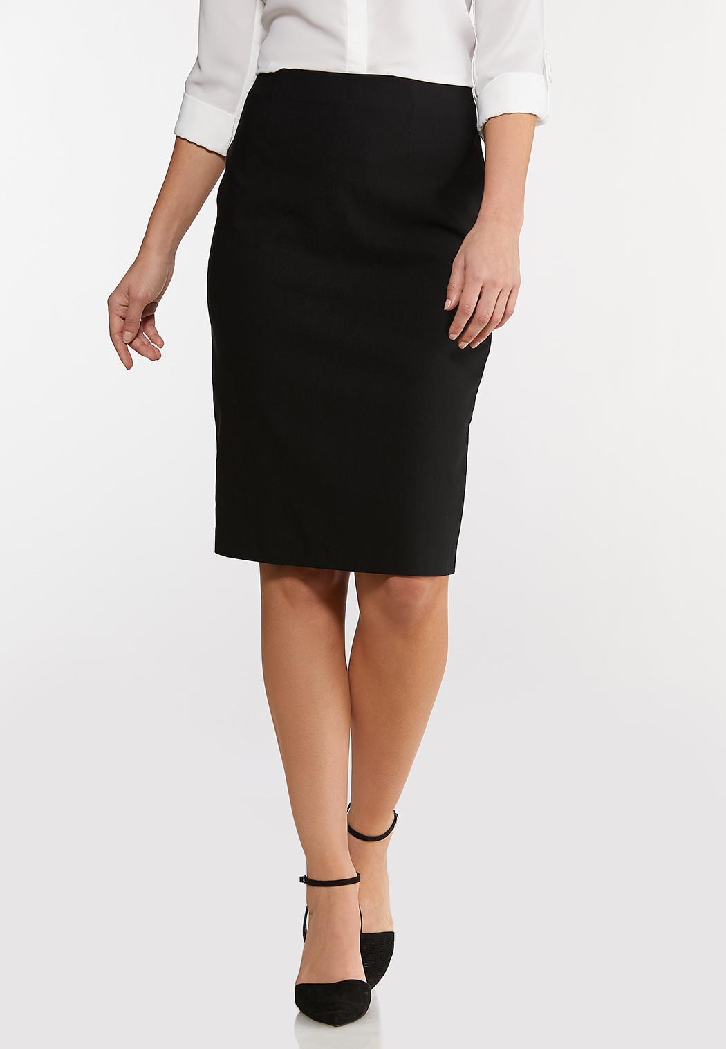 Black Bengaline Pencil Skirt