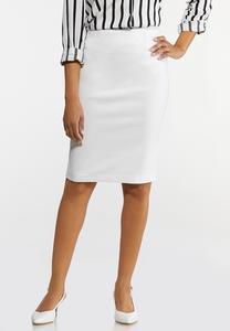Plus Size Black Bengaline Pencil Skirt