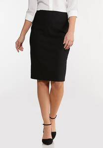 Plus Size Black Bengaline Pencil Skirt