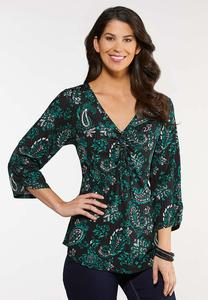 Plus Size Paisley Cinched Top