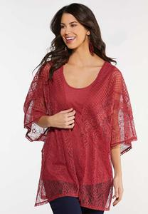 Plus Size Lace Kimono and Tank Set