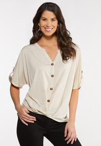 Plus Size Button Down High Low Top