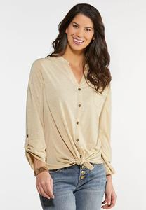 Plus Size Button Down Pocket Top