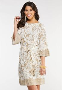 Plus Size Lacy Taupe Dress