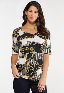 Plus Size Status Print Knit Top