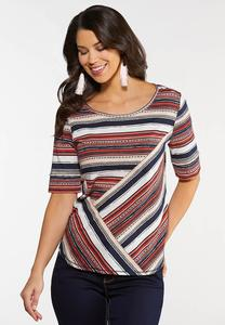 Plus Size Coral Stripe Top