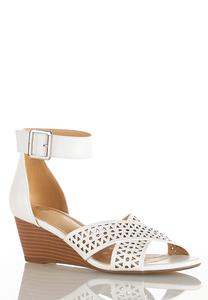 Wide Width Laser Cut Wedge Sandals