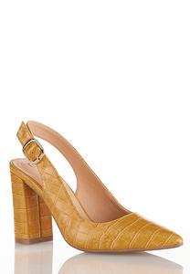 Golden Croc Slingback Pumps