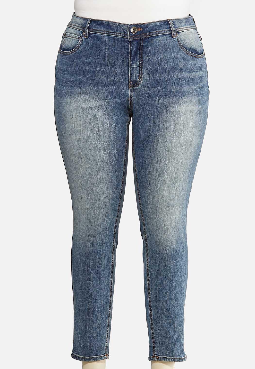 Plus Size Faded Skinny Ankle Jeans