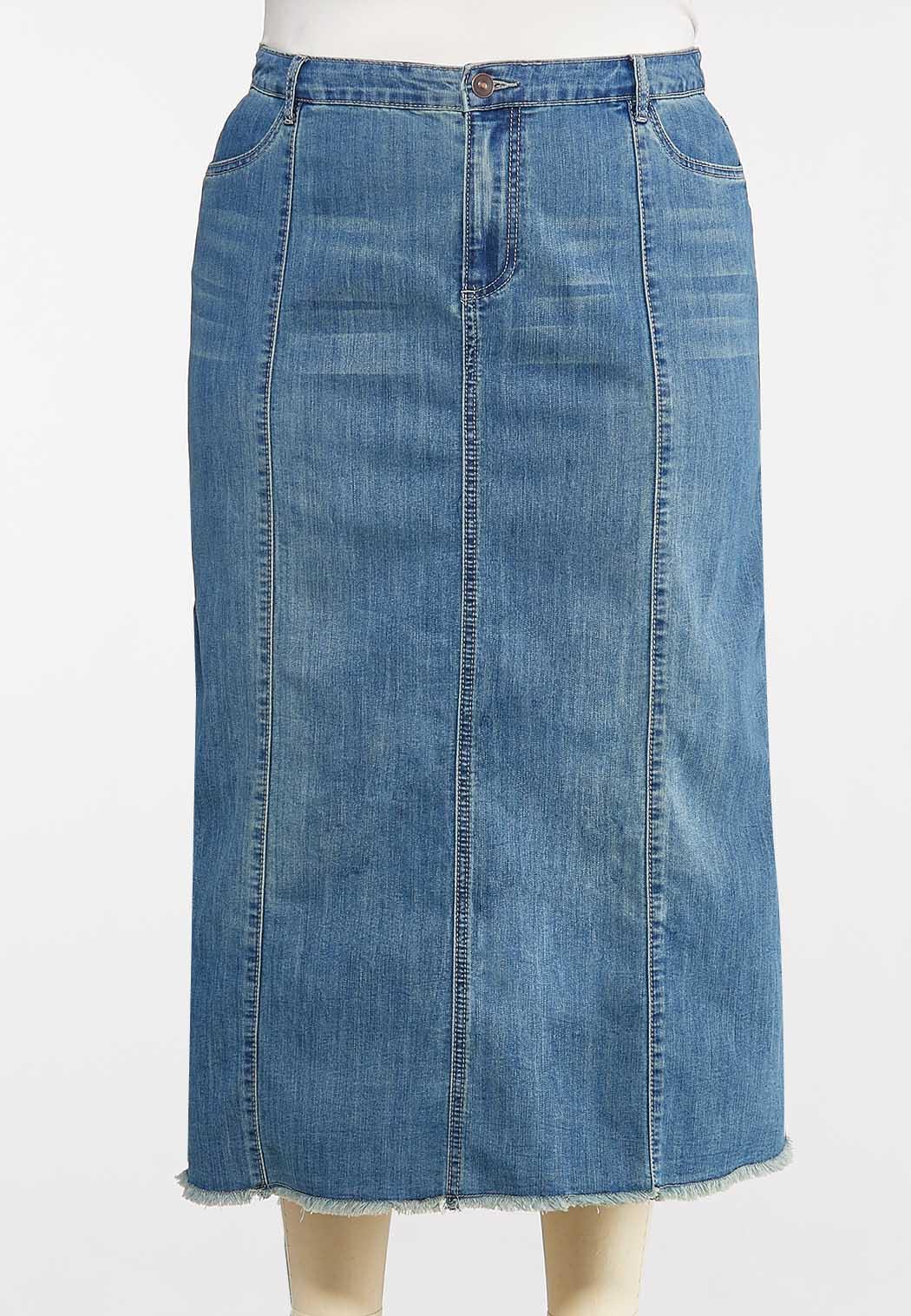 Plus Size Frayed Denim Skirt