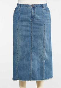 Plus Size Frayed Denim Skirt