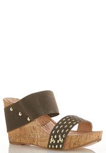 Embellished Band Wedge Sandals