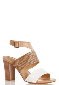Mixed Media Block Heel Sandals