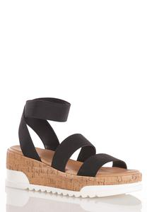Stretch Cork Platform Wedges