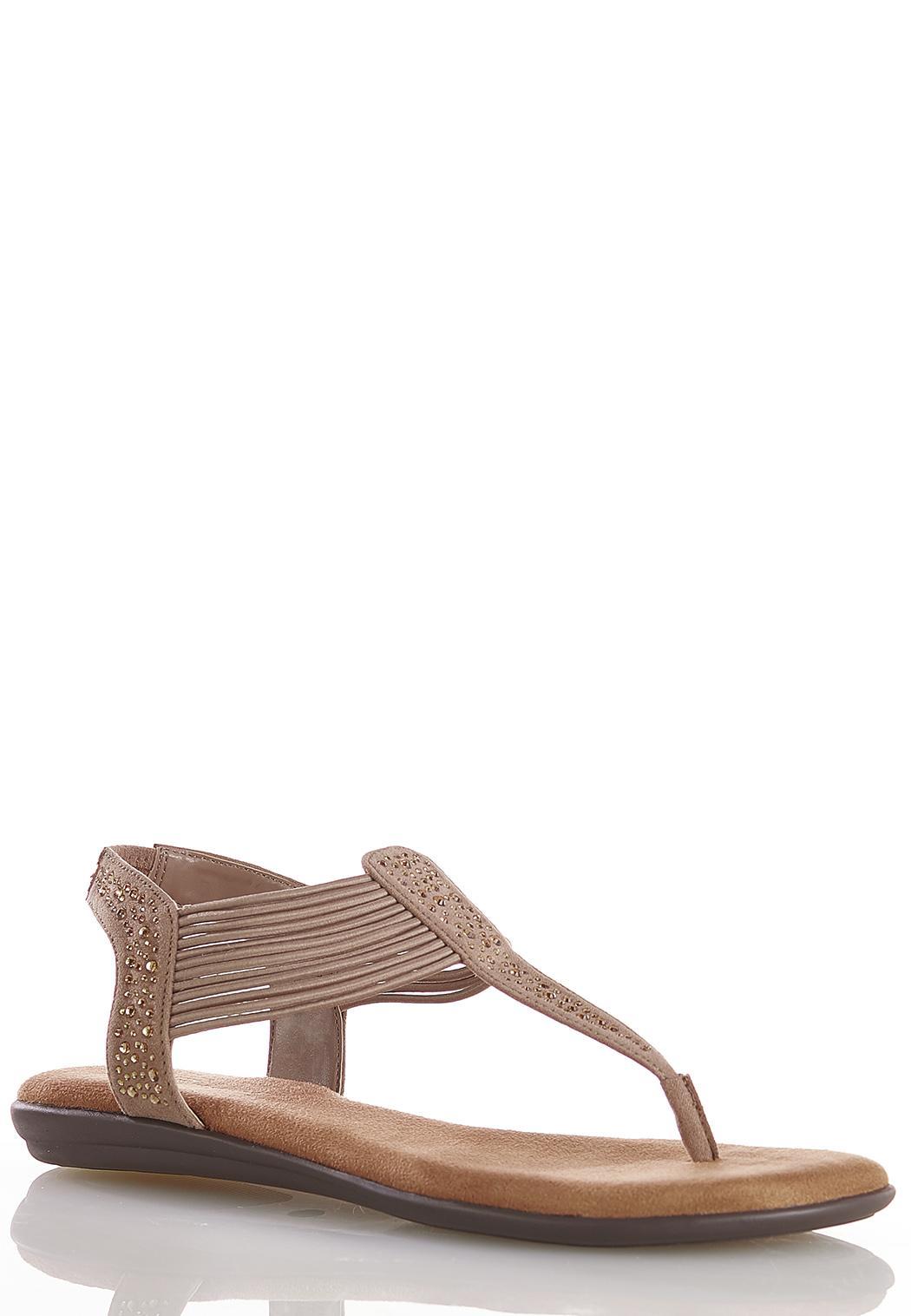 Stretch Band Embellished Sandals