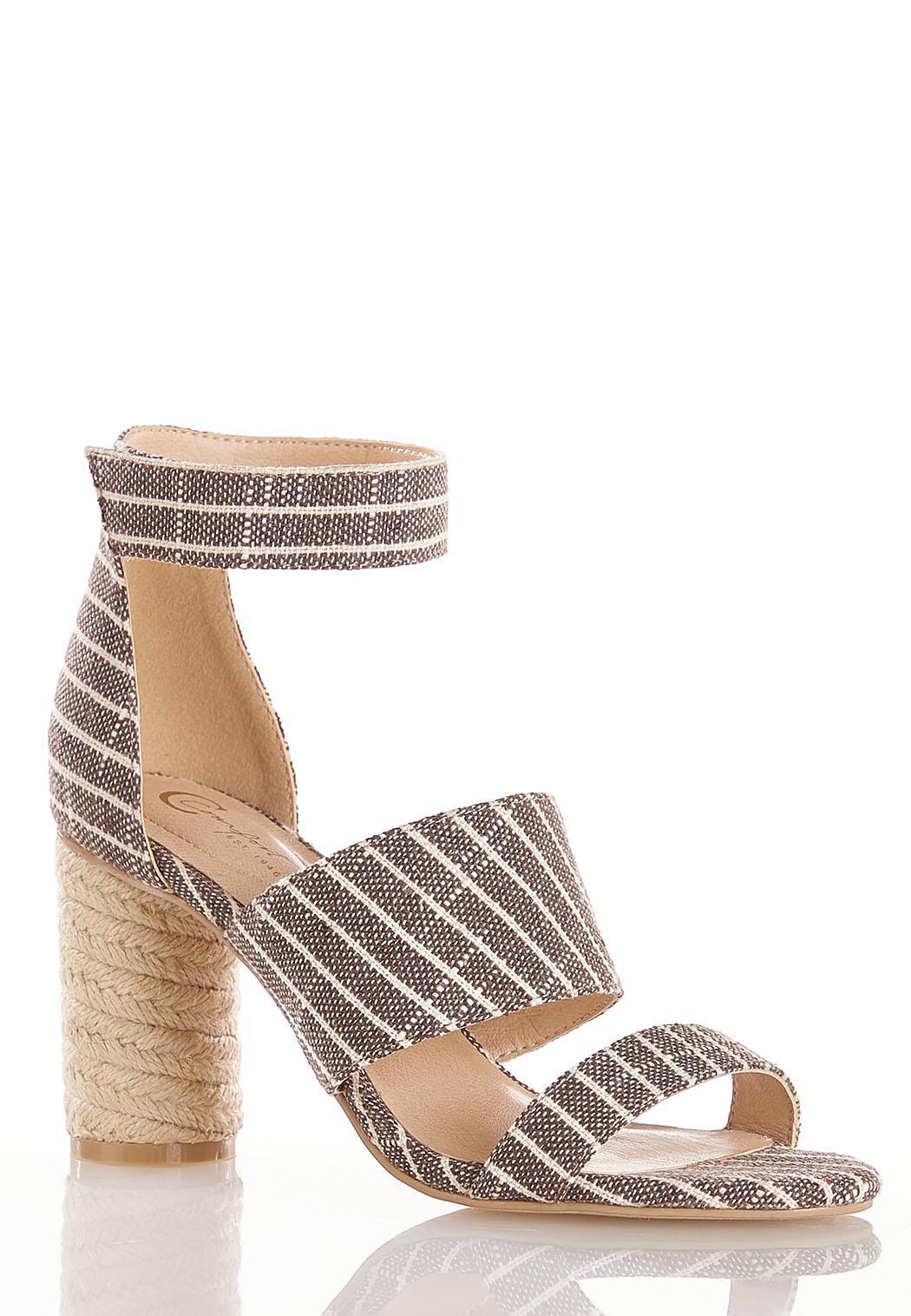 Cylinder Heel Linen Sandals
