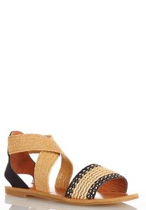 Raffia Crossband Sandals