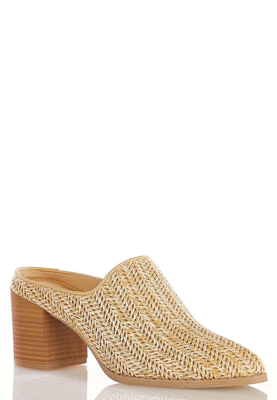 Woven Heeled Mules