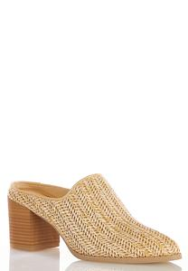 Wide Width Woven Heeled Mules
