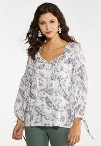 Plus Size Paisley Balloon Sleeve Poet Top