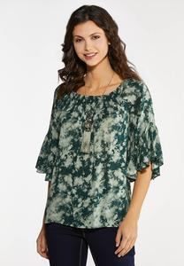 Green Tie Dye Poet Top